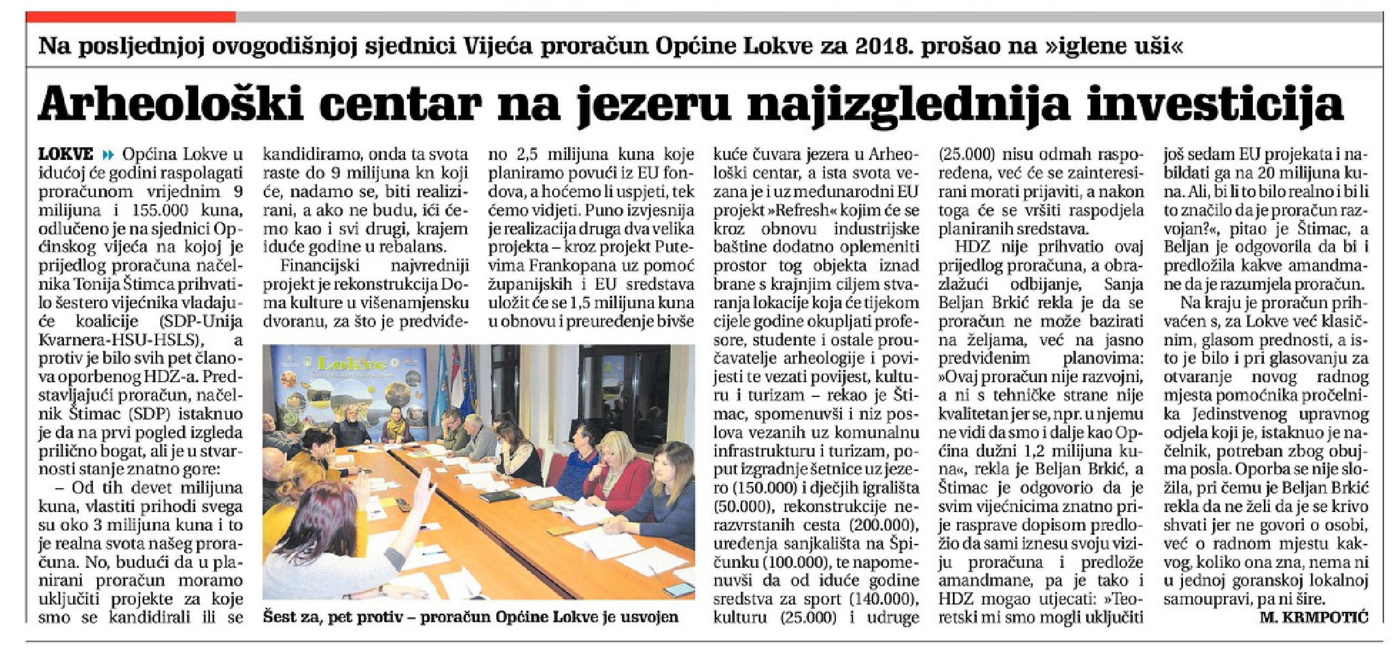 Novi list 23.12.2017 Proračun